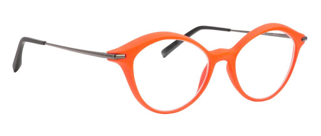 monture design créateur 3D moderne mode femme orange